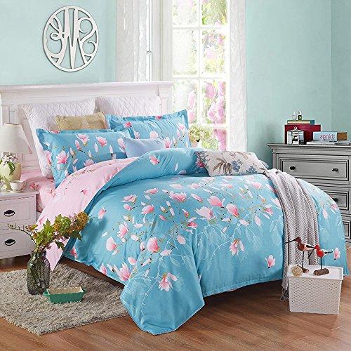 uxiefil Textiles à la Maison Simples de Vent de Jardin du Coton 4-Piece de Couvre-lit de literie de Coton
