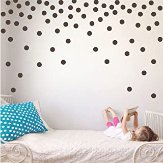 Polka Dot Circles Vinyl Wall Decor Stickers - Easy DIY Peel & Stick Removable Decorative Room Decals [Set of 160] (Brown, 2.2 inch dots)