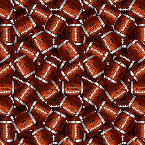 Footballs Cotton Fabric by The Yard, Precut 1 Yard Pieces