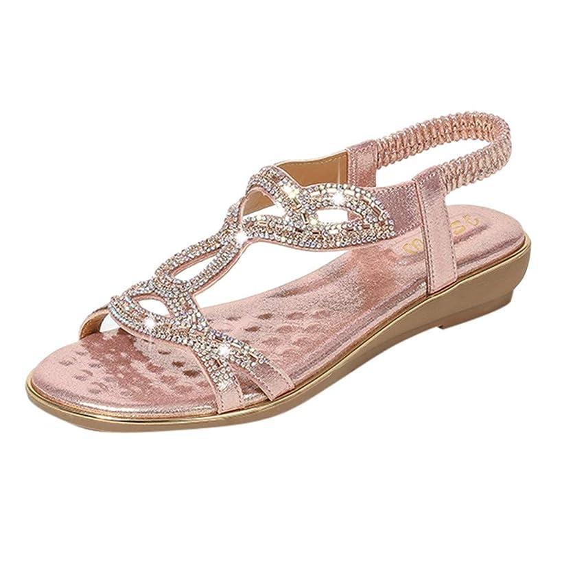 Women's Bohemia Sandals Summer Crystal Peep Toe Beach T-Strap Flat Sandals Comfort Casual Shoes