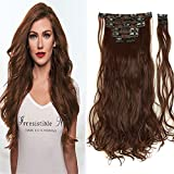 S-noilite A+ 17/24 Inch Real Natural Soft Curly 170g 8 Pieces Full Head Clip in Hair Extensions for Girl Lady Women(17inch-curly, Medium Brown)