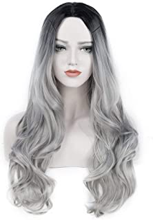 JIAMEISI 26 Inch Ombre Gray 2 Tones Synthetic Wig Dark Roots Long Natural Straight Silver Grey Replacement Hair Wigs For Women Heat Resistant Fiber Hair Half Hand Tied (Silver Grey)