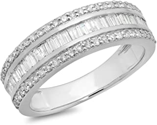 0.95 Carat (ctw) 10K Gold Round & Baguette Diamond Men's Anniversary Wedding Band Ring 1 CT (white-gold 6)