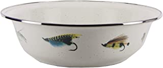 Enamelware - Fishing Fly Pattern - 13.5 Inch Round Serving Basin