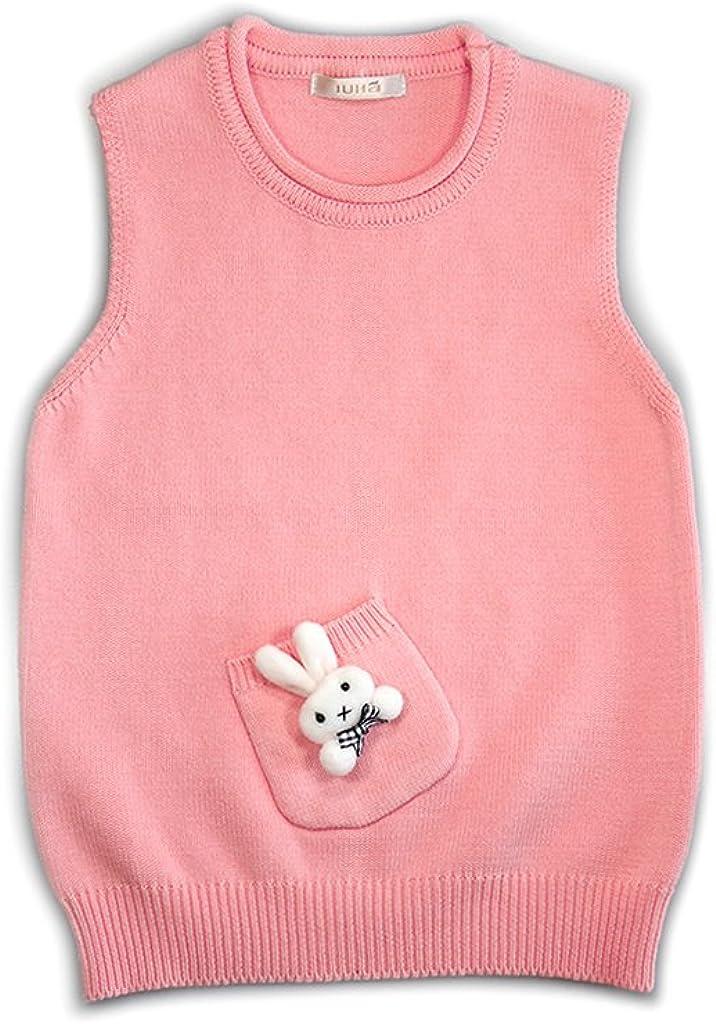 IUHA Cute Rabbit Decoration Sweater Vests Girls Cotton Pink