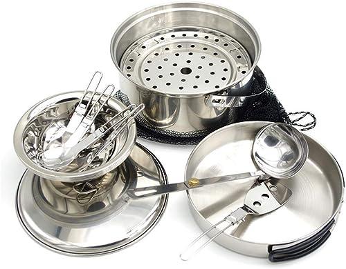 WANG XIN Pique-Nique Batterie De Cuisine en Plein Air Portable en Acier Inoxydable Cuisinière Camping Pot 3-4 Personnes Wild Camping Set Pot