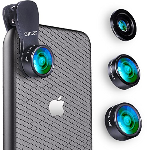Kit de lentes de cámara HD Universal Clip Olixar Premium 3-in-1 Universal (lente ojo de pez, macro, gran angular )