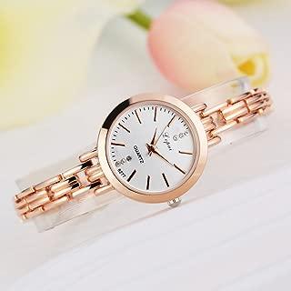 Mimgo Women Lady Bracelet Crystal Dial Quartz Wrist Watch (Gold&White)