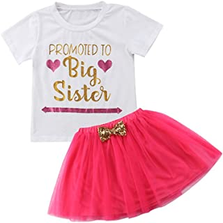 fe341f18c56b Toddler Kids Baby Girls Promoted to Big Sister T Shirt Tops+Tulle Tutu  Bowknot Skirt