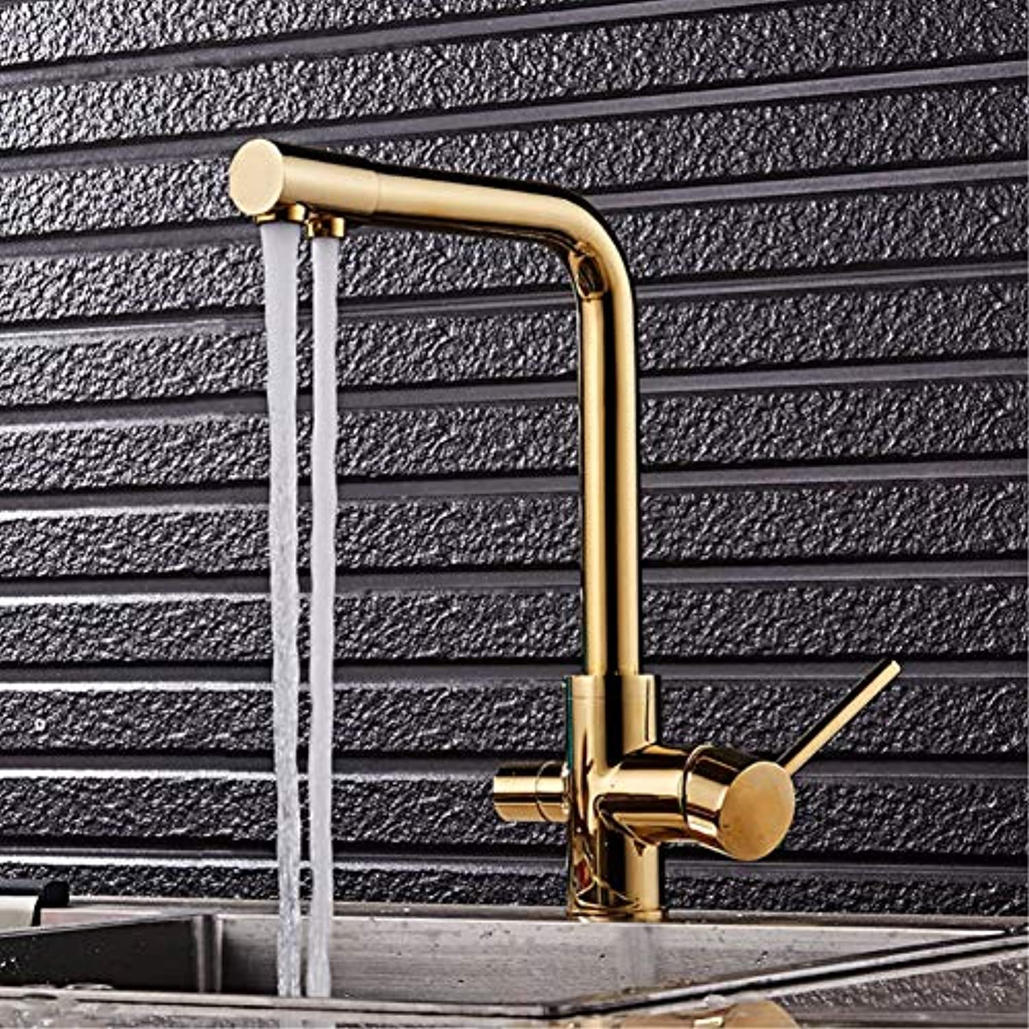 Faucet gold Black Kitchen Faucet Solid Brass for Kitchen Deck Mounted Water Filter Tap Three Ways Sink Mixer 3 Way Kitchen Faucet