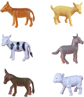 Mini Animal Figures (6 PCs) Baby Horse Calf Cow Goat Sheep Lamb Donkey Figurines for Cupcake Topper Decoration Reward Gift for Boy Girl Party Favors Party Supply Cake Decoration for Animal Theme Party