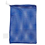 Champion Sports Mesh Sports Equipment Bag, Blue, 12x18 Inches - Multipurpose, Nylon Drawstring Bag with Lock and ID Tag for Balls, Beach, Laundry
