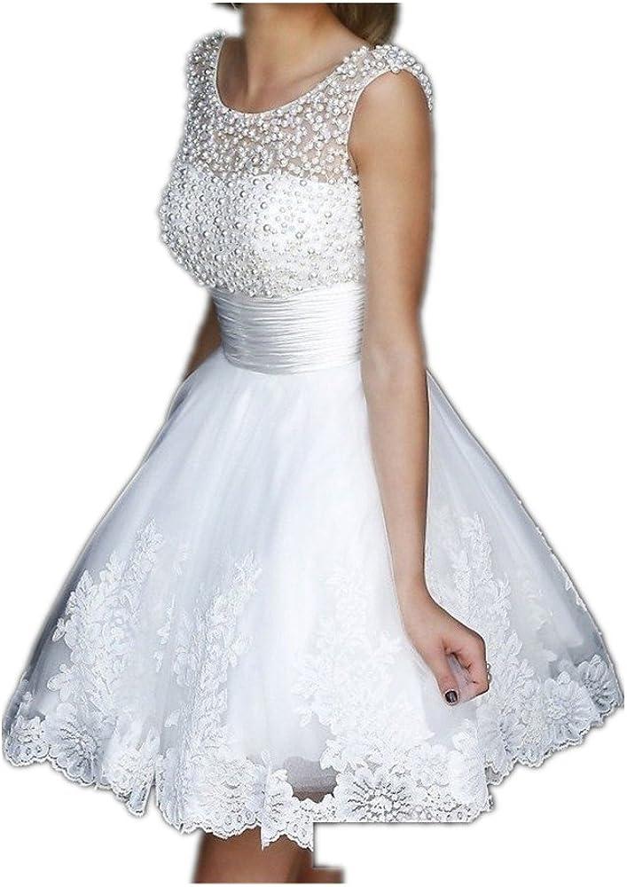 YAXIU Women's Elegant Bride Applique Lace Tulle A-Line Short Knee Length Wedding Dress Gown for Bride