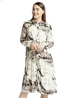 Splash Patterned Long Sleeves Shirt Neck Knee-length Dress for Women - Black and Beige, S
