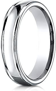 Palladium 4mm Comfort-Fit Satin polish finish round edge Design Wedding Band Ring for Men & Women