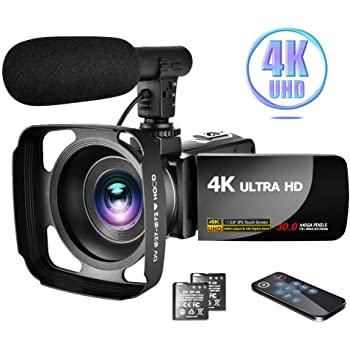 """Camcorder 4K Video Camera with Microphone Vlogging Camera YouTube Camera Recorder Ultra HD 30MP 3.0"""" IPS Touch Screen with Lens Hood & 2 Batteries"""