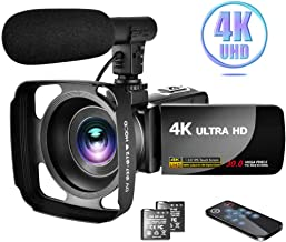 """4K Video Camera Camcorder with Microphone Vlogging Camera YouTube Camera Recorder Ultra HD 30MP 3.0"""" IPS Touch Screen with..."""