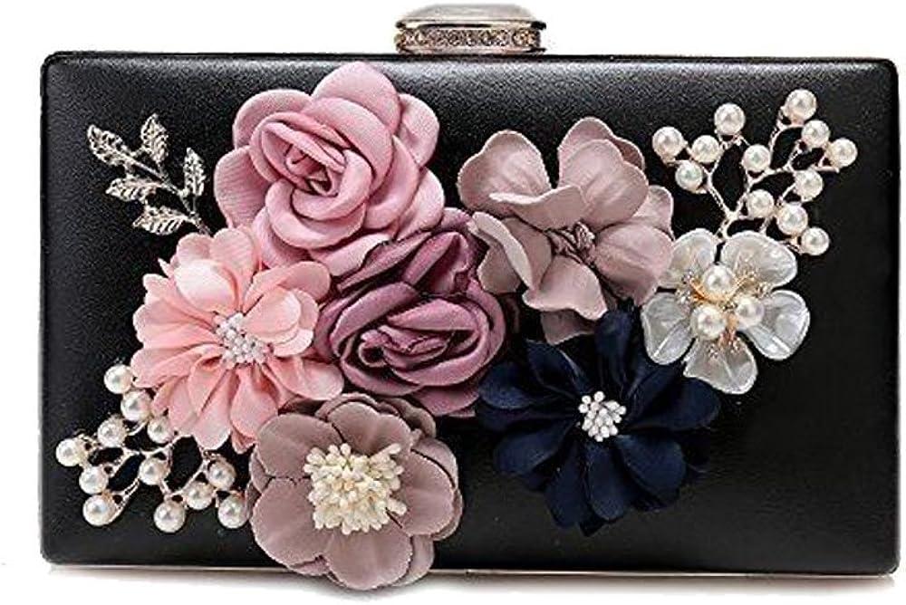 Women's Satin Flower Dinner Clutch Pearl Beaded Evening Hand Bag