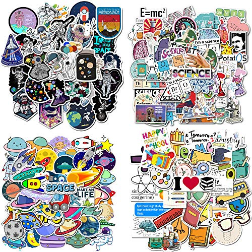 200PCS Science Stickers Waterproof Vinyl Stickers Pack School Stickers for Children, Students, Teens, Laptop, Water Bottle, Phone, Luggage, Skateboard (School Science)