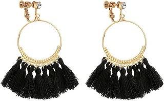Bohemia Long Dangle Rhinestone Clip on Earrings Tassel Thread for Women Circle Drop Gold Hoop