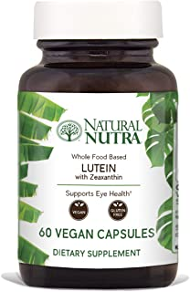 Natural Nutra Lutein and Zeaxanthin Supplement, Whole Food Formula, Soy Free, Vegan and Vegetarian, Lutemax™ 2020, 20mg, 60 Capsules