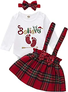 Curipeer Baby Girl Skirt Set Dress Outfits Ruffle Long Sleeve Floral Suspender Skirt Cotton Clothes