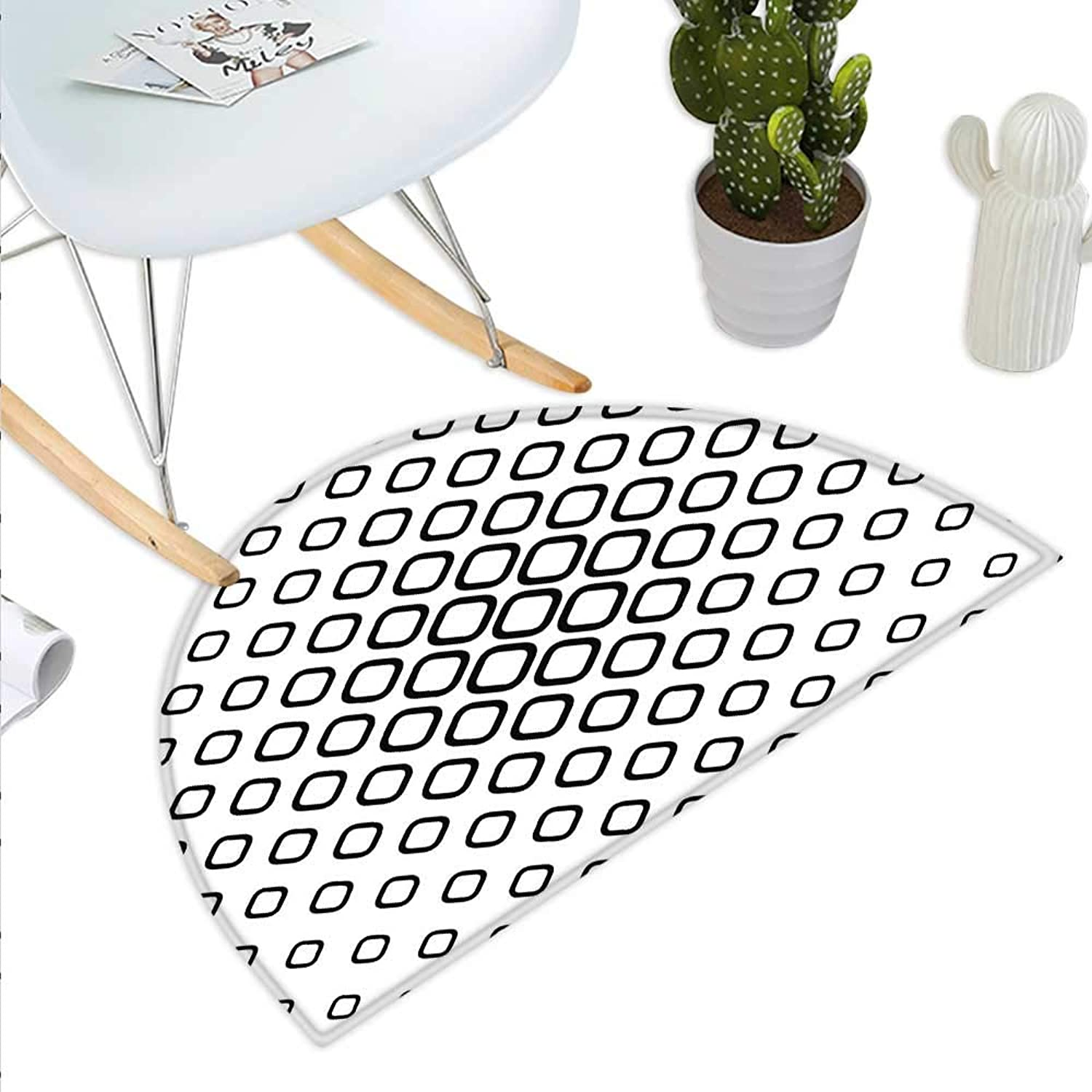 Abstract Semicircle Doormat Trippy Fractal Geometrical Rounded Square Shapes Minimalist Artisan Pattern Halfmoon doormats H 35.4  xD 53.1  Black and White