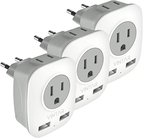 [3-Pack] European Travel Plug Adapter, VINTAR International Power Adaptor with 2 USB Ports,2 American Outlets- 4 in 1...