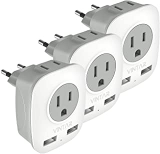 [3-Pack] European Plug Adapter, VINTAR International Power Adaptor with 2 USB Ports,2 American Outlets- 4 in 1 European Plug Adapter for France, Germany, Greece, Italy, Israel, Spain (Type C)