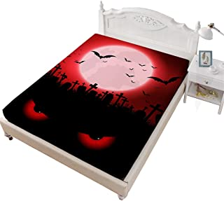 VITALE Bedding Fitted Sheet Queen Size, Halloween Printed Queen Size Sheet, Cartoon Red Ghost Printed 1 Piece Queen Size Deep Pocket Fitted Sheet Girl's Bedding Decor