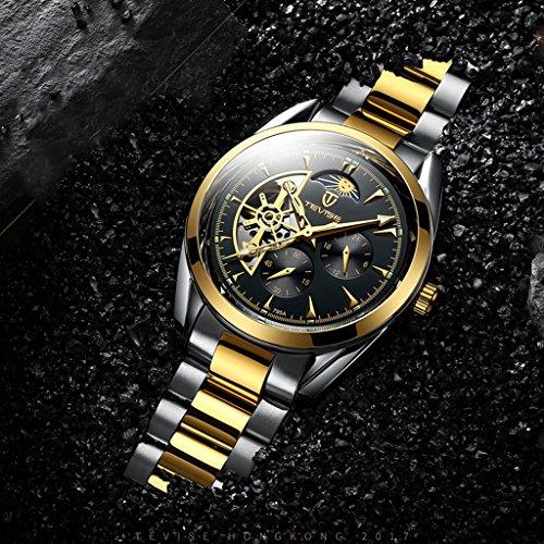 Hellery TEVISE Men Relojes Mecánicos Automáticos para Hombres Reloj De Pulsera Luminoso De Lujo - Oro