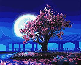 Painting by Numbers DIY Oil Painting for Adult Landscape with Huge Moon and Pink Trees Canvas Print Wall Art Decoration 40...