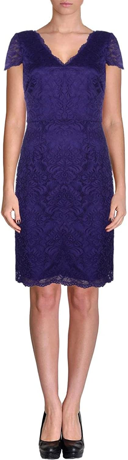 Laundry by Shelli Segal Womens Lace Double V Party Dress Purple 2
