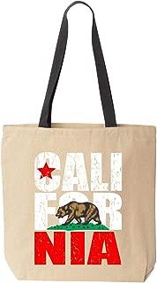 Shop4Ever California Bear Flag Vintage Cotton Canvas Tote Reusable Shopping Bag 10 oz Natural - Black 1 Pack Colored Handle