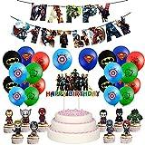 Decoraciones de Cumpleaños de Superhéroes Fiesta para Niños Globos de Vengadores Decoraciones de Cumpleaños de Avengers Pancartas Adorno de Tarta de Cumpleaños de Superhéroes