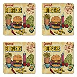 Ambesonne Hamburger Coaster Set of 4, Retro Hand Drawn Style Burger and Ingredients Gourmet Taste Delicious Fast Food, Square Hardboard Gloss Coasters for Drinks, Multicolor