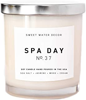 Spa Day Natural Soy Wax Candle White Jar Silver Lid Scented Summer Sea Salt Jasmine Wood Cream Bathroom Modern Rustic Home Decor Accessories Relaxation Made in USA Lead and Gluten Free Cotton Wick
