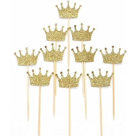 20pcs Baby Girls Crown Dress Cupcake Picks Cake Decor Toppers Party Supplies