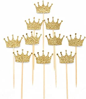 TXIN 20 Pack Gold Glitter Crown Cupcake Toppers Wedding Birthday Party Baby Shower Decor