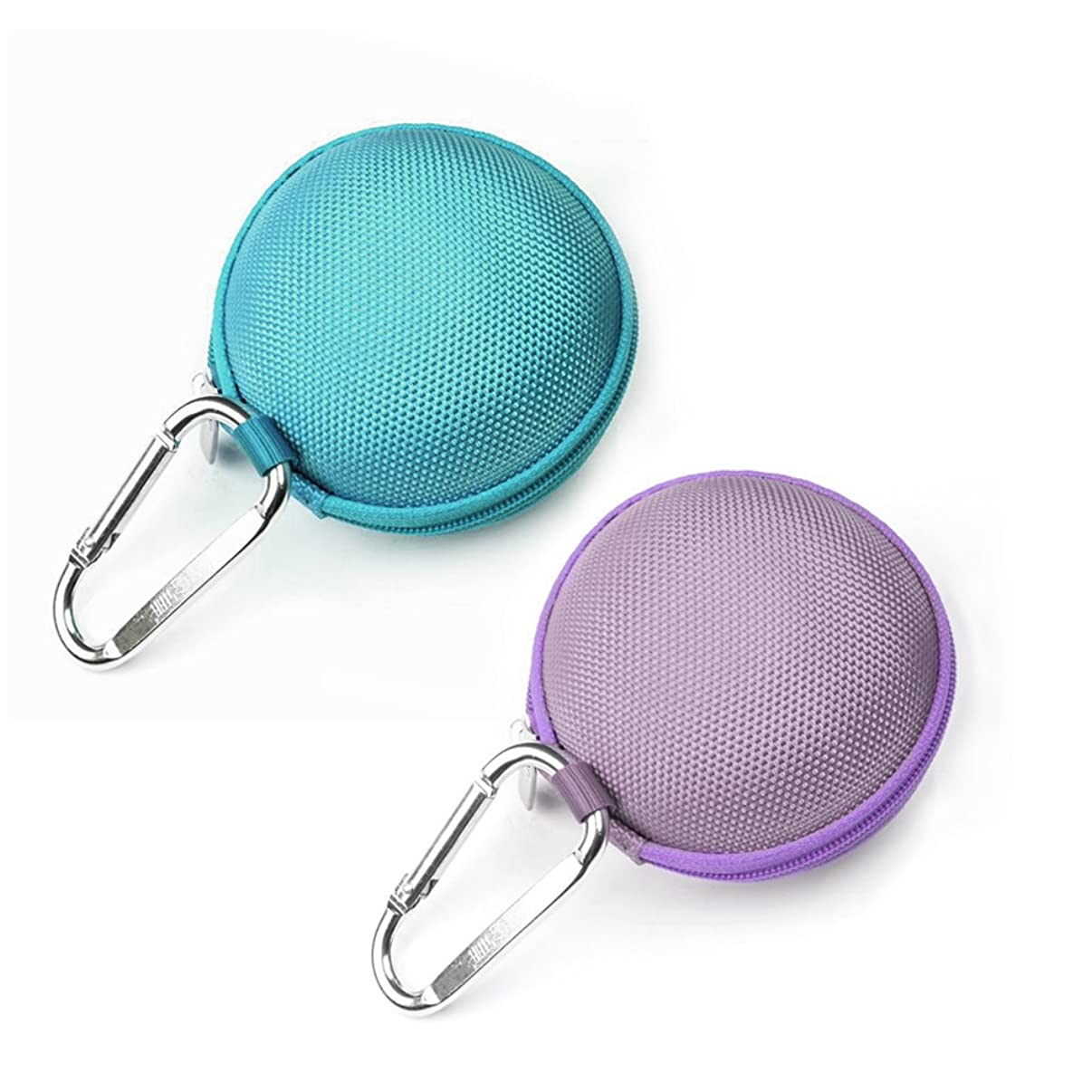 Case Star ? 2 PCS(Dark Green and Purple) Earphone Handsfree Headset HARD EVA Case - Clamshell/MESH Style with Zipper Enclosure, Inner Pocket, and Durable Exterior Plus Silver Climbing Carabiner With Case Star Cell Phone Bag (EVA Earphone Case-Dark Green and Purple)