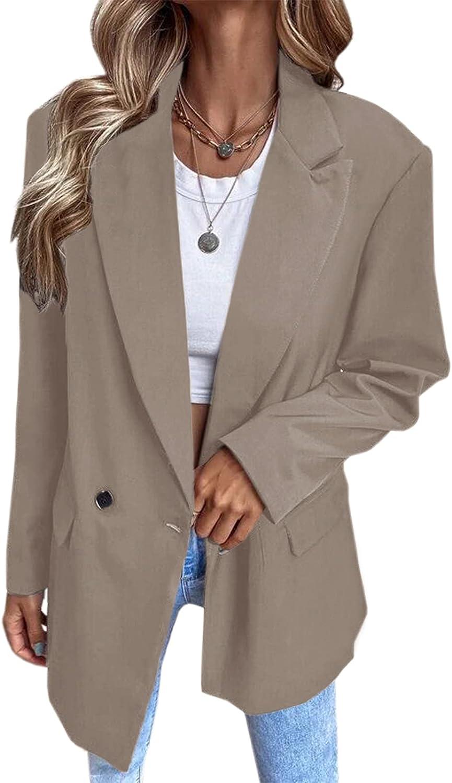 Valpweet Womens Blazers Casual Open Front Long Sleeve Lapel Soli