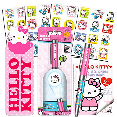 Hello Kitty Pen Set ~ Hello Kitty Projector Pen with Clip, Bookmark, and Reward Stickers Activity Book (Hello Kitty Office Supplies, School Supplies)