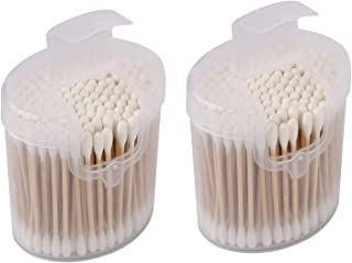 XMHF Wooden Stick Cotton Swabs Q-Tips Double Tipped With Finest Quality Cotton Heads That Do Not Unravel - Sturdy Handle - Multipurpose, Safe, Highly Absorbent & Hygienic 2 Pack