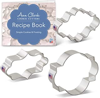 Ann Clark Cookie Cutters 3-Piece Plaque Frame Cookie Cutter Set with Recipe Booklet, Long Fancy, Oval, Photo Plaques