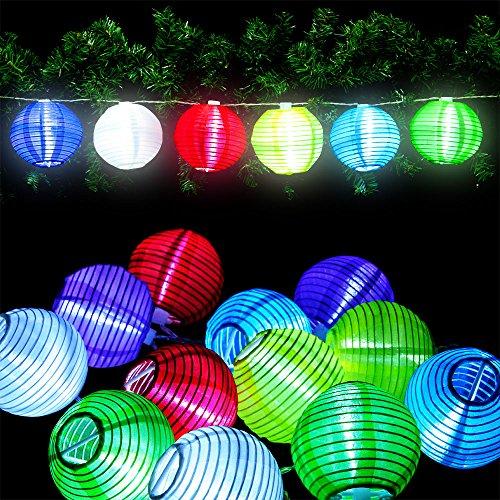 Deuba 12x LED Lampion Lichterkette Laterne Deko Stofflampe Batterie-betrieben sparsame LED-Lampen 6 verschiedene Farben