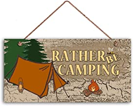 """MAIYUAN Rather Be Camping Sign, Rustic Decor, Earthy Tones, Tent and Fire, 6"""" x.."""