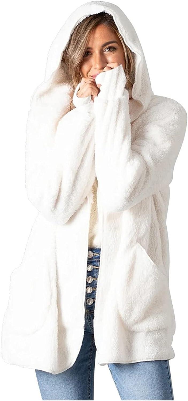 Women's Faux-Fur Shaggy Winter Coat Long Sleeve Open Front Outwear Hooded Jacket