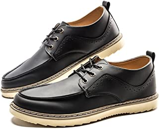 5f6398371ab Dig dog bone Men s Leather Shoes Loafer Flat Heel Lace up Solid Color  British Style Casual