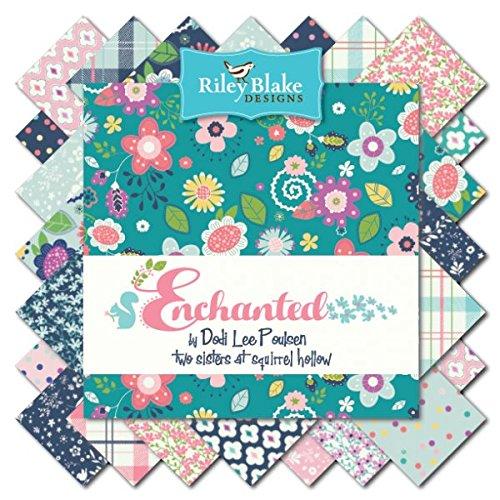 Riley Blake Charm Pack–Juego de 18–Enchanted diseño de flores Charm Pack de Riley Blake–Paquete de 18piezas (1de cada diseño) cada 12,5cm x 12,5cm (5pulgadas x 5pulgadas)