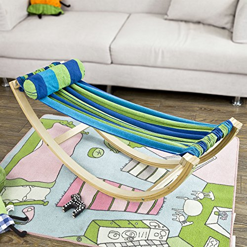 Haotian KMB16-J,Children's Compact Rocking Hammock with with Wood Frame and Cotton Fabric - Reading, Hammock with Printed Carry Bag